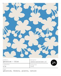 GERANIUM - BLUE surface pattern design by jessica nielsen