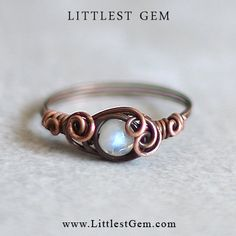 size US 7 Moonstone Ring unique rings by littlestgem on Etsy