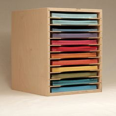 The Paper Holder is another option for your paper storage needs. It keeps your smaller sheets of paper neatly organized and easily accessible. Easy Crafts For Kids, New Crafts, Home Crafts, Creative Crafts, Craft Paper Storage, Paper Organization, Paper Craft, Organizing Crafts, Kids Homework Station