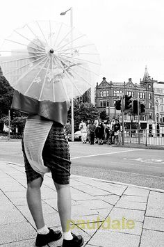 """Nottingham based fashion brand GUARDEN. """"Love Sushi"""" S/S 13 Collection. Snap shot, Model, Rosy LEE,  waiting for the other models to cross the road."""
