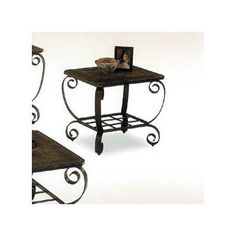 Emerald Natural Slate End Table by Alpine Furniture. $219.00. Made from metal and natural slate. Rectangular shape. Six months warranty. Open lattice shelf. Earthtone finish. 271-2 Features: -End table.-Metal and natural slate combination. Color/Finish: -Finish: Earth Tone. Assembly Instructions: -Assembly required. Warranty: -6 Months manufacturer's warranty.