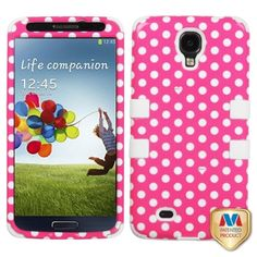 This is an Insten pink/ white dots/ white TUFF case for the Samsung and Galaxy S4 I337/ L720/ M919/ I545/ R970/ I9505/ I9500. Keep your cell phone protected against scratches, dings, and dents with this case.