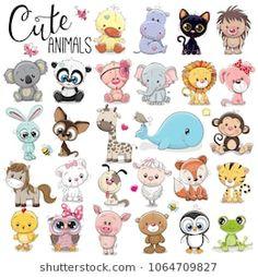 Buy Set of Cartoon Animals by on GraphicRiver. Set of Cute Cartoon Animals on a white background Cartoon Baby Animals, Baby Animal Drawings, Cartoon Cartoon, Cute Animals, Drawing Cartoon Animals, Doodle Drawings, Cute Drawings, Cartoon Mignon, Art Mignon