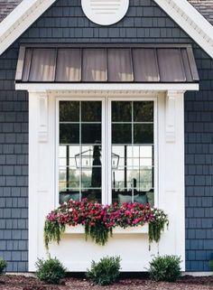 Awesome Farmhouse Home Exterior Design Ideas 11 Exterior Paint Colors, Exterior House Colors, Paint Colors For Home, Exterior Design, Exterior Windows, Diy Exterior Awnings, Paint Colours, Colonial Exterior, Ranch Exterior