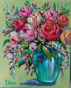 Yvette Andino Art Original acrylic , spring bouquet ll , unframed Spring Bouquet, Rose Art, Whimsical Art, Country Chic, Impressionism, Art For Sale, Floral Wreath, The Originals, Flowers