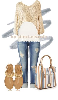 """""""Crystal Sandals & Beige Cropped Knitted Sweater"""" by casuality on Polyvore"""