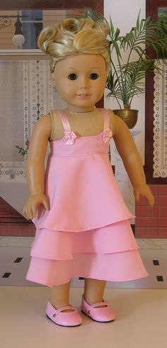"Cute 18"" American Girl Doll dress. For inspiration.   I remember making a dress like this for my daughter's Cher doll."