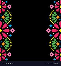 Mexican folk wedding or party invitation vector image on VectorStock Mexican Graphic Design, Mexican Designs, Folk Art Flowers, Flower Art, Poster Rangoli, Mexican Pattern, Mexican Party, Mexican Folk Art, Tile Art