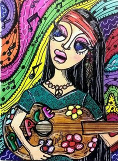 Girl with guitar made with Sharpie marker