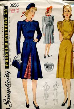 Simplicity 3656 early 1940's Dress and Redingote pattern