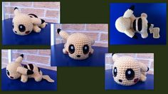 Baby Pikachu - Pokemon character - Free Amigurumi Pattern here: http://aphid777.deviantart.com/art/Baby-Pikachu-with-pattern-431086950