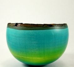 Blue and Green  Maple Bowl by makye77 on Etsy, $55.00