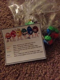 Anger Management Group Activity: Use this M&M plan to help kids disclose. For every colored M&M they have, talk about the corresponding topic!