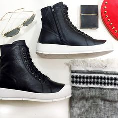 """Atelje Minimalist Leather High Tops FINAL PRICE Details: • Size 8 • Leather • Hidden side zippers and lace up front  • 1.5"""" rubber soles • Brand new in box   05261609 Atelje 71 Shoes Sneakers"""