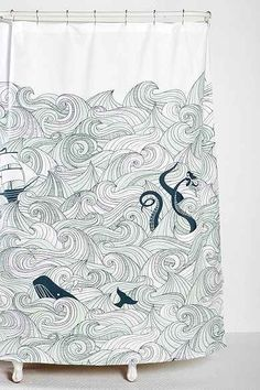 Elisa Cachero Odyssey Shower Curtain from Urban Outfitters. Saved to Home sweet home. Home Design, Urban Outfitters, Nautical Bathrooms, Bright Bathrooms, Navy Bathroom, Beach Bathrooms, Basement Bathroom, Bathroom Interior, Modern Bathroom