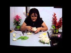 FLOR DE LÓTUS -  (tutorial en portugues)        modelada sem frisador - Prof. Andréia Cristina