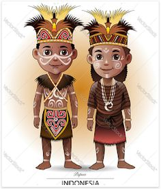 Find Vector Illustration Papua Traditional Clothing stock images in HD and millions of other royalty-free stock photos, illustrations and vectors in the Shutterstock collection. Thousands of new, high-quality pictures added every day. Indonesian Language, Indonesian Art, Kids Vector, Vector Art, Islamic Cartoon, Free Vector Illustration, Image Collection, Traditional Outfits, Caricature