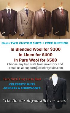Custom Made Men Suits Jan 2015 Deal  http://www.celebritysuits.com/