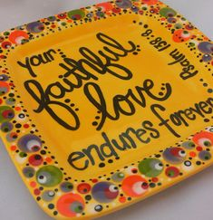 Custom Hand Painted 8 Square Plate Personalized by firedbyfaith, $40.00
