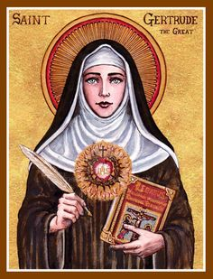 St. Gertrude the Great icon by Theophilia