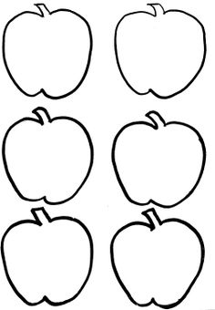 Six Red Apple Fruit Coloring Pages  fruit and veggie coloring
