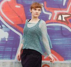 Lagoon green summer poncho, summer wrap, knit shawl, linen silk blend poncho 100% natural  XL / 2L size, plus size