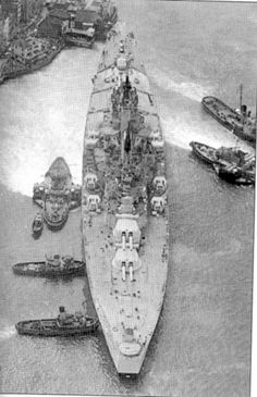 The Royal Navy's last battleship, HMS Vanguard - a 'one off' ordered at the outset of WW2 to utilise stored 15 in guns, higher resourcing priorities meant that she was not completed until 1946.  She remained in commission till 1960.