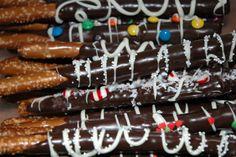 Gourmet Chocolate Dipped Pretzel Rods. Photo by me & alex