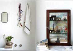 shelf backed with maps