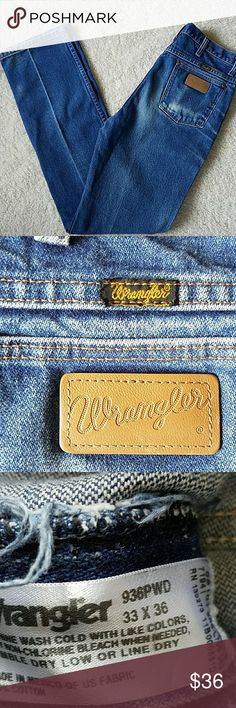 WRANGLER JEANS WRANGLER JEANS LONG~N~LEAN OLD SCHOOL?? TAGGED: 33 ? 36 MEASURED: WAIST: 32 LENGTH: 35 1/2 RISE: 12 HIPS: 36 NICELY DISTRESSED?? Wrangler Jeans Straight Leg