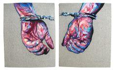Julie Sarloutte, hand cuffed.