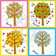 Illustration of four Seasons: spring, summer, autumn, winter , Seasons Calendar Kids, Season Calendar, Calendar Time, Kids Calendar, School Age Activities, Preschool Themes, Preschool Crafts, Activities For Kids, Crafts For Kids
