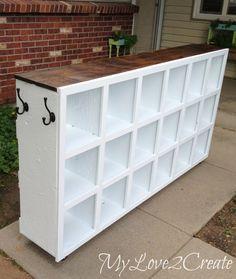 repurposed nesting boxes cubby shelf