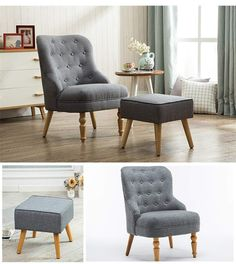 ⚜️ Add charm to your home with Magshion Elegant Upholstered Fabric Club Chair Accent Chair W/Ottoman Living Room Set (Grey) from Living Room Decor Furniture, Ottoman In Living Room, Living Room Sets, Living Room Chairs, Living Room Designs, Upholstered Accent Chairs, Chair And Ottoman Set, Beautiful Living Rooms, Chair Fabric