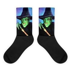 Wicked Witch of the West Wizard of Oz Movie Socks Cool Socks, Awesome Socks, Wizard Of Oz Movie, Wicked Witch, Us Man, The Wiz, Artwork Prints, Bold Colors, Movies