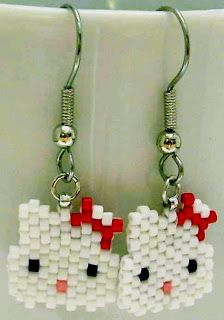 brick stitch earrings patterns free | tiny beads of joy: Free Pattern: Hello Kitty