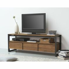 Fading the lines between mid-century modern design and industrial appeal, this Alkmaar tv console anchors your entertainment space in curated style. Industrial Tv Stand, Muebles Living, Teak Furniture, Furniture Design, Living Room Tv, Tv Cabinets, Mid Century Modern Design, Teak Wood, Mid-century Modern