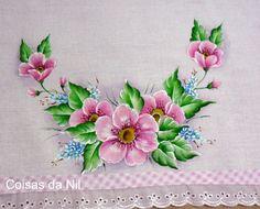 Coisas da Nil - Pintura em tecido: Rosadas…