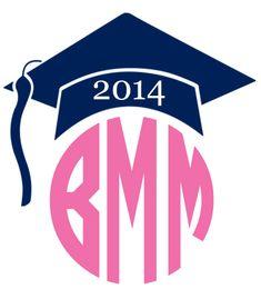 Monogrammed Graduation Cap Vinyl Decal