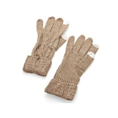 Brown Cable Knitted Phone Touch Screen Winter Gloves