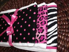 Burp Cloths  Hot Pink and Zebra Combo