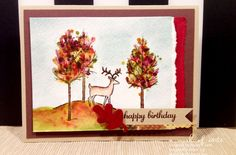 Gorgeous Watercolor Autumn Birthday Card Featuring White Christmas