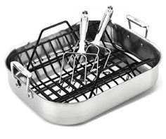 I pinned this 2 Piece Stainless Roasting Pan & Rack Set from the American-Made Cookware event at Joss and Main! Kitchen Tools, Kitchen Gadgets, Kitchen Dining, Kitchen Ware, Kitchen Small, Kitchen Products, Kitchen Supplies, Kitchen Stuff, Kitchen Ideas