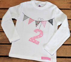 Langarmshirts - Geburtstagsshirt Wimpel Wimpelkette 1,2,3,4,5,6 - ein Designerstück von Wichtelland bei DaWanda