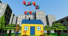 """MI Reto número he querido recrear una escena de la película """"Up"""", que es la casa con los globos, como toma de contacto del programa, con intención de posteriormente darle movimiento y …"""