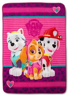 """""""PAW Patrol"""" Skye, Everest and Marshall throw blanket (maker unknown; pink/purple color scheme with streaking hearts at either end) Paw Patrol Bedroom, Purple Color Schemes, Toddler Playroom, 3rd Birthday Parties, Birthday Ideas, Kids Room Furniture, Paw Patrol Party, Kid Character, Kids Store"""