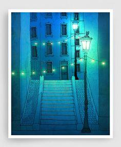 Marche nuite (version bleue) - illustration Paris Montmartre Giclee Art print affiche Accueil décor ville impression Bleu Turquoise Paris de nuit
