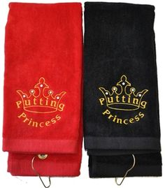 Embroidered Putting Princess Black or Red Golf Towel Embellished with Swarovski Crystals. Bring onto the course - Functional Fashionable Fun!