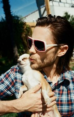 Jared Leto with dog