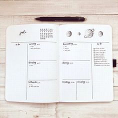 Organizacja kreatywna: Bullet Journal Weekly Spread with Trackers Bullet Journal Inspiration, Journal Ideas, Weekly Spread, Instagram, Grad, Bullet Journals, Planners, Journaling, Notebook
